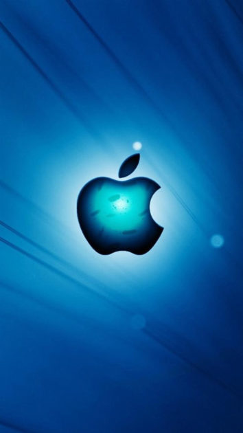 Blue Apple Logo Iphone Wallpaper.