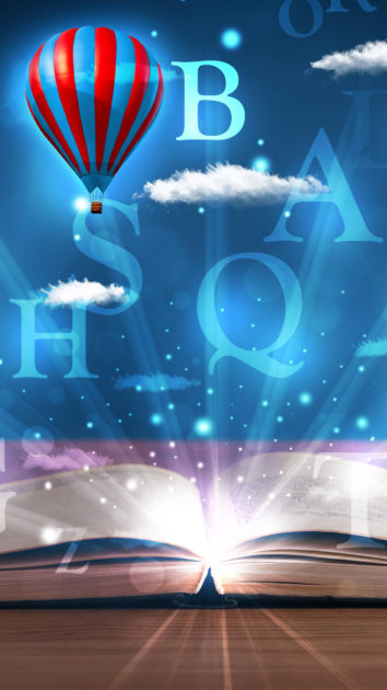 Open book with glowing fantasy abstract clouds and balloons.