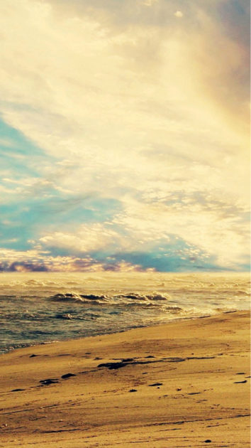 Fantasy Beautiful Seaside Beach Mist Skyscape iphone 6 wallpaper.